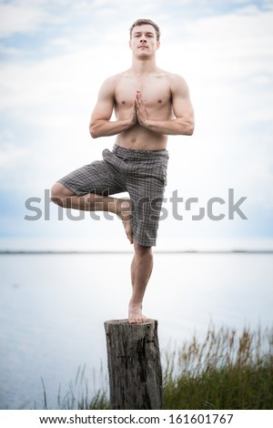 Young Adult Doing the Tadasana (Tree) position in Yoga on a Stump in Nature - stock photo