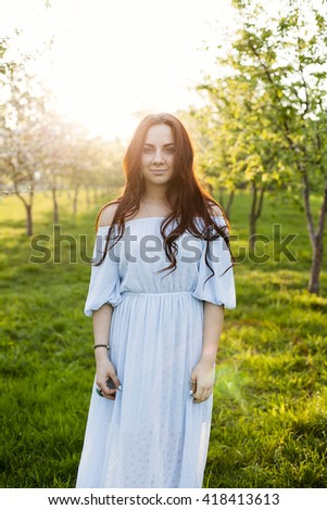 young adult girl outdoor - stock photo