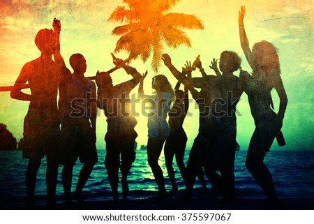 Young Adult Togetherness Party Fun Freedom Beach Summer - stock photo