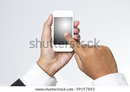 Young adult using a smart phone - stock photo