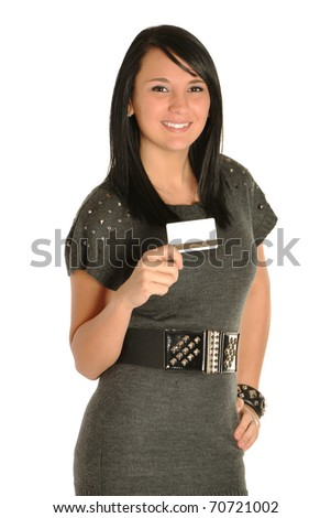 Young adult woman with gift card - stock photo