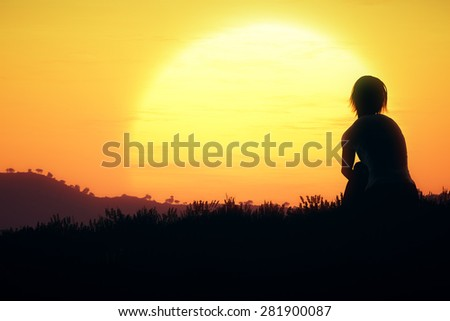 Young Adult Women Sitting on a Hilltop enjoying peaceful harmony with nature in the Sunset Sunrise 3D Artwork