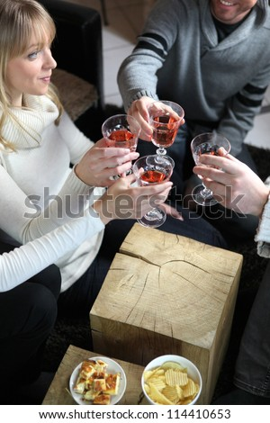 Young adults enjoying dinner party - stock photo