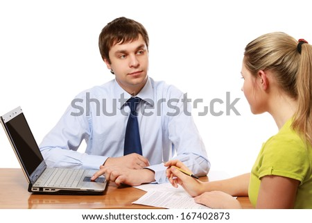 Young adviser businessman consulting at office - stock photo