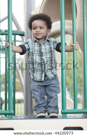 Young African American boy at a playground - stock photo