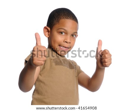 Young African American boy giving the thumbs up - stock photo