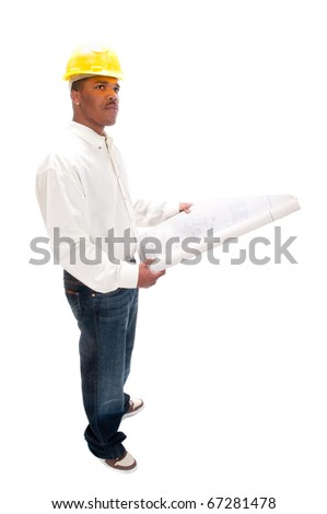 young African American contractor studying plans, isolated over a white background - stock photo