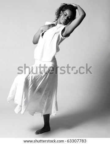Young african american dancer in studio. - stock photo