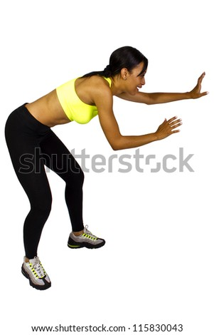 young African American dodging/evading (dodge ball game) - stock photo