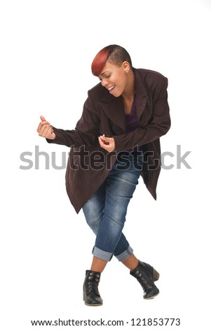 Young African American female dancer snapping her fingers in a dance pose. Isolated on white background - stock photo