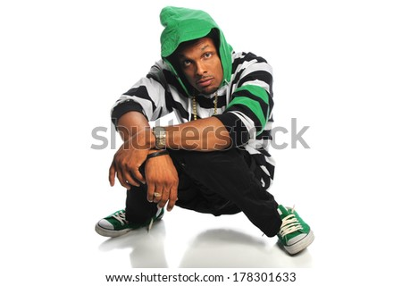Young African American hip hop man isolated over white background - stock photo