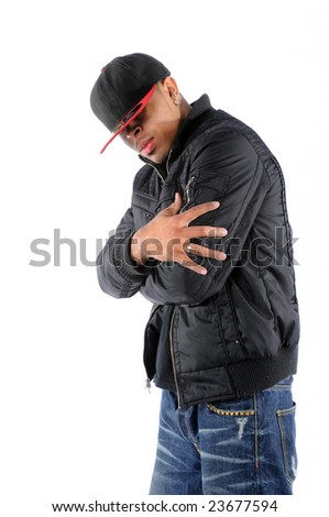 Young African American hip hop man posing - stock photo