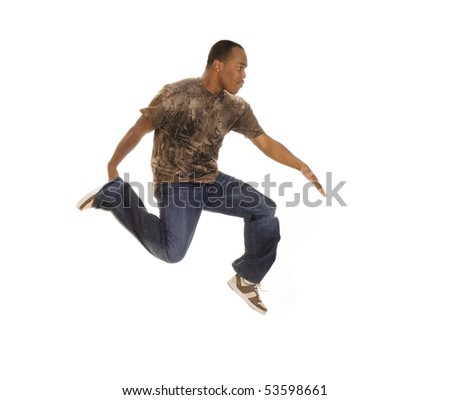 Young African american man break dancing isolated on white - stock photo