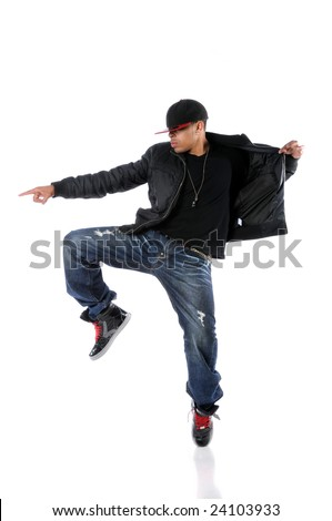 Young African American man dancing hip hop style - stock photo