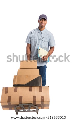 Young African American Man Delivery Boxes on isolated white background - stock photo