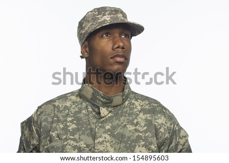 Young African-American military man, horizontal  - stock photo