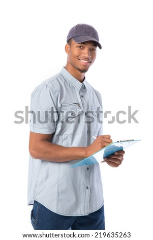 Young African American Service Man Writing on Clipboard  isolated white background - stock photo