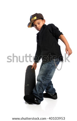Young African American skateboarder isolated over white background - stock photo