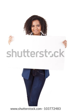 Young african american woman with blank signboard, isolated on white background - stock photo