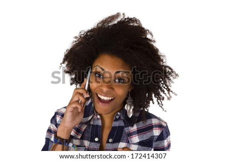 Young african american woman with cellphone - isolated on white background - stock photo