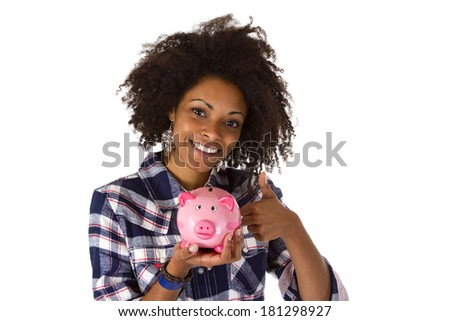 Young african american woman with piggy bank - isolated on white background - stock photo