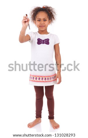 Young african asian girl holding  a paint brush,isolated on white background - stock photo