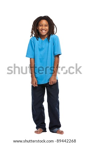 young african boy standing in studio - stock photo