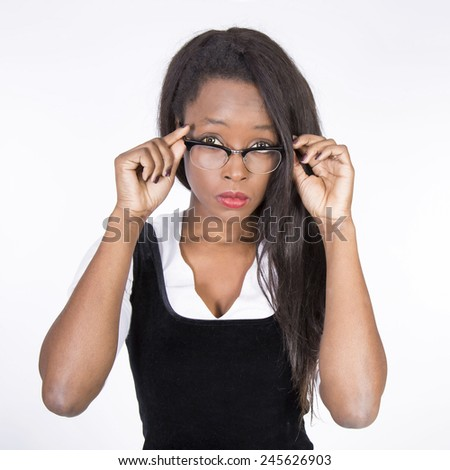 Young African businesswoman with glasses - stock photo