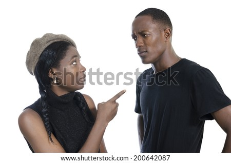 Young african couple quarreling, Studio Shot - stock photo