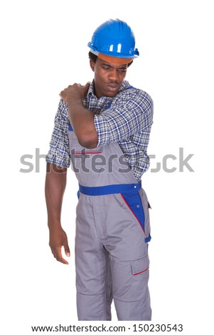 Young African Craftsman With Back Pain Isolated Over White Background - stock photo