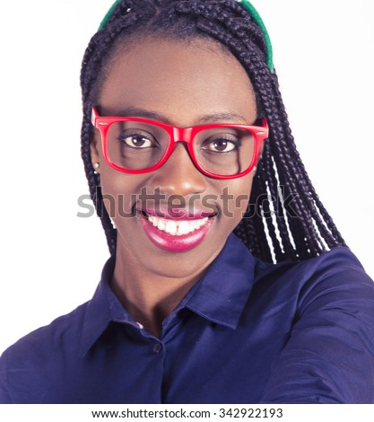 Young African girl with glasses - stock photo