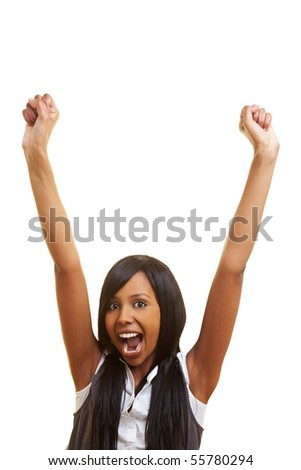 Young african woman cheering with her fists in the air - stock photo