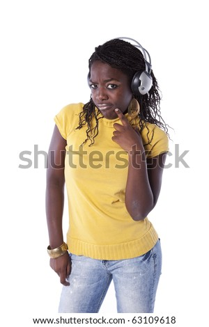 young african woman listening to music headphones (isolated on white) - stock photo
