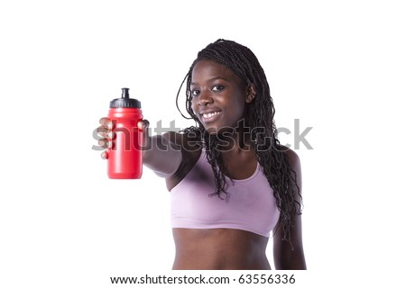 Young african woman refreshing after the exercise (isolated on white) - stock photo