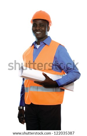 Young Afro-American engineer with blueprints isolated on white background - stock photo