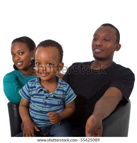 Young afro american family with bubbles - stock photo