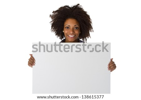 Young afro american with white board - isolated on white background - stock photo