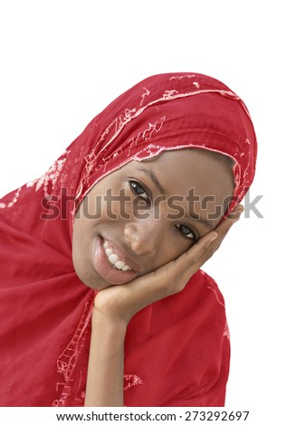 Young Afro beauty wearing a red headscarf, isolated   - stock photo