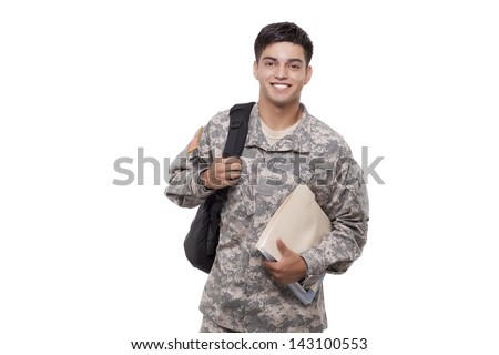 Young American soldier with documents and backpack  - stock photo