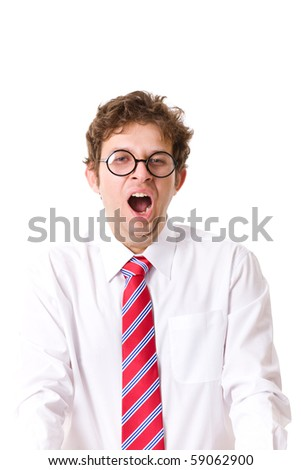 young and attractive businessman, tired and exhausted, yawn, isolated on white - stock photo