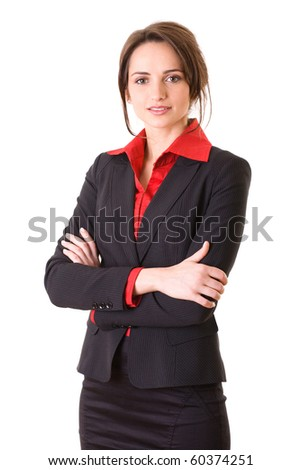 young and attractive businesswoman in red shirt and jacket, studio shoot isolated on white - stock photo