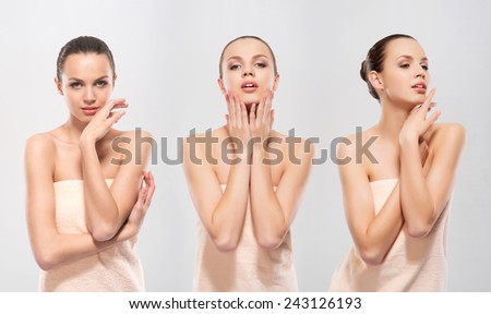Young and attractive Caucasian woman in a soft towel. Collection of three images. - stock photo