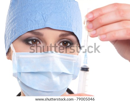 Young and attractive female doctor isolated on white - stock photo