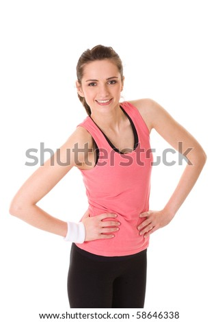 young and attractive female makes some exercises, studio shoot isolated on white - stock photo