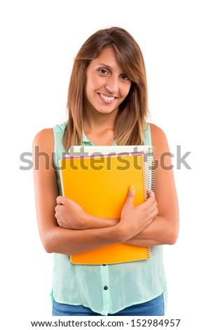 Young and beautiful asian student posing isolated over white - stock photo
