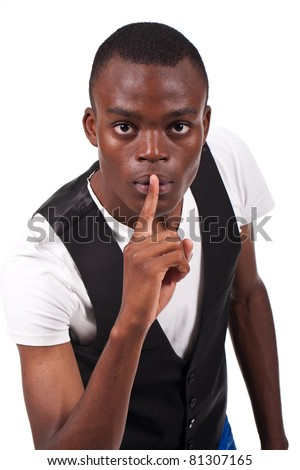 young and beautiful black man doing silence sign - stock photo