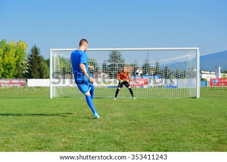 young and beautiful footballers train football - stock photo