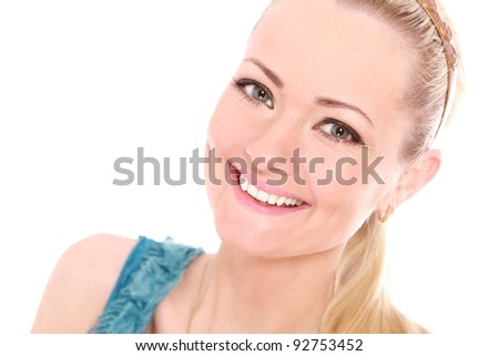 Young and beautiful girl over white background - stock photo
