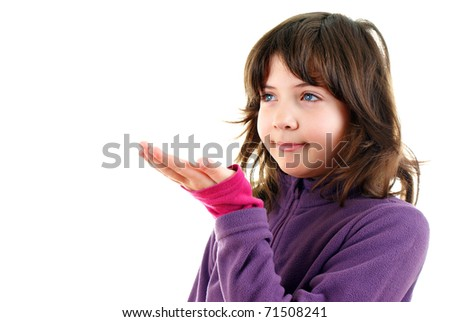 young and beautiful girl points at something - stock photo