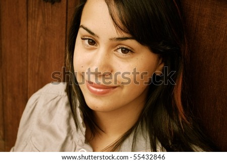 Young and Beautiful Hispanic teenager - stock photo